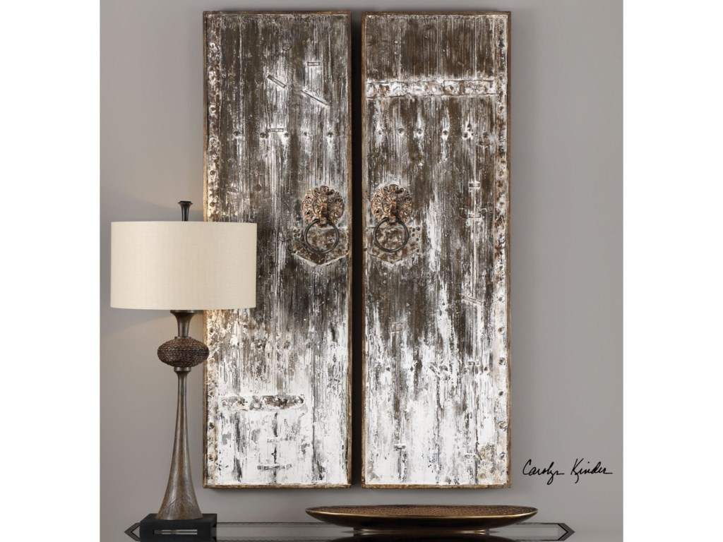 Uttermost Alternative Wall DecorGiles Aged Wood Wall Art, S/2
