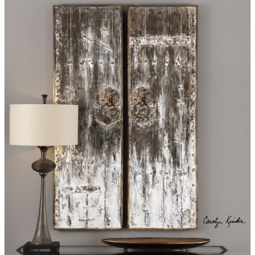 Uttermost alternative wall decor giles aged wood wall art s 2