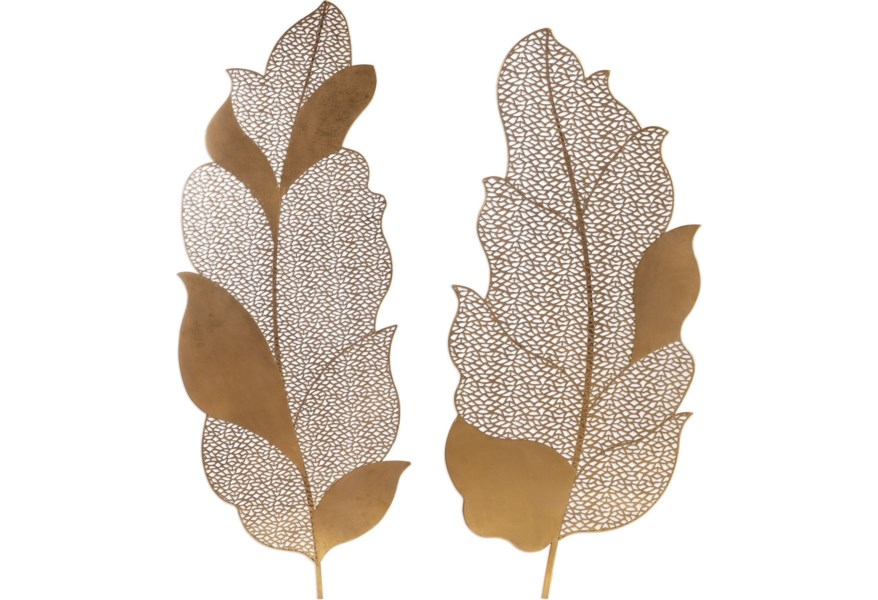 Alternative Wall Decor Autumn Lace Leaf Art S 2 By Uttermost At Hudson Furniture