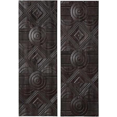 Asuka Carved Wood Wall Panels, Set/2