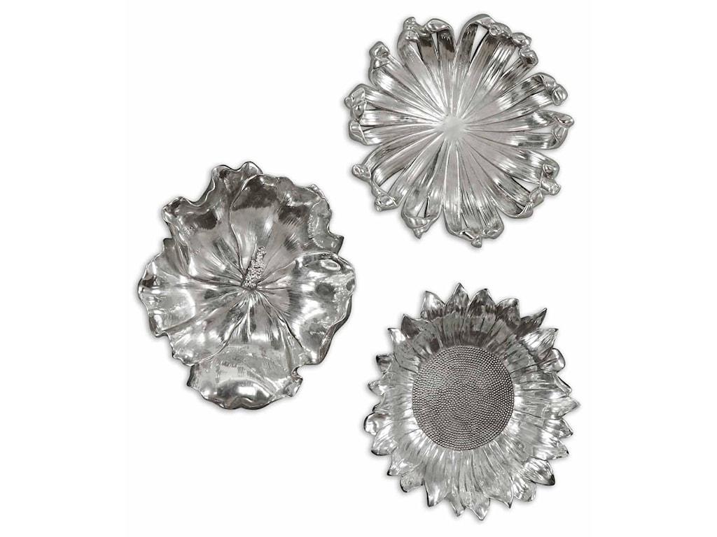 Uttermost Alternative Wall Decor Silver Flowers Set Of 3 Miskelly