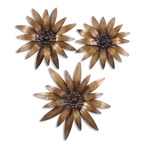 Uttermost Alternative Wall Decor Golden Gazanias Set of 3