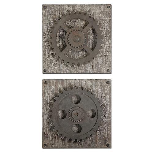 Uttermost Alternative Wall Decor Rustic Gears