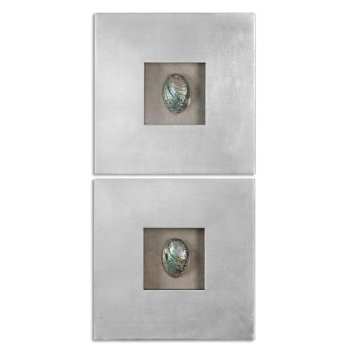 Uttermost Alternative Wall Decor Abalone Shells Silver Wall Art, S/2