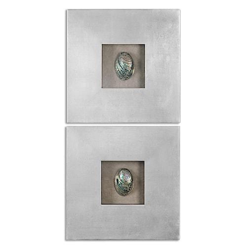 Uttermost alternative wall decor abalone shells silver wall art s 2