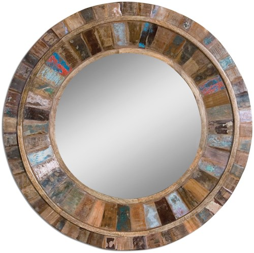 Uttermost Mirrors Jeremiah Round Wood Mirror