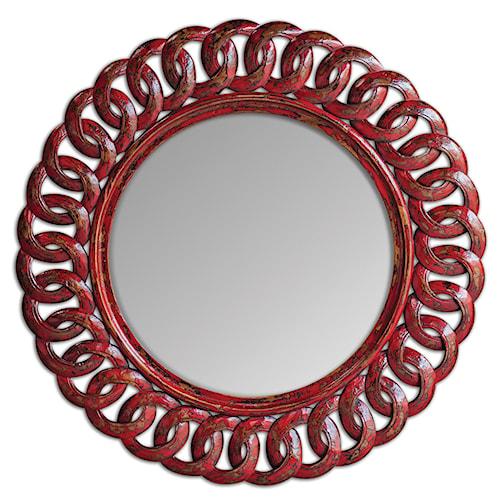 Uttermost Mirrors Sassia Red Round Mirror