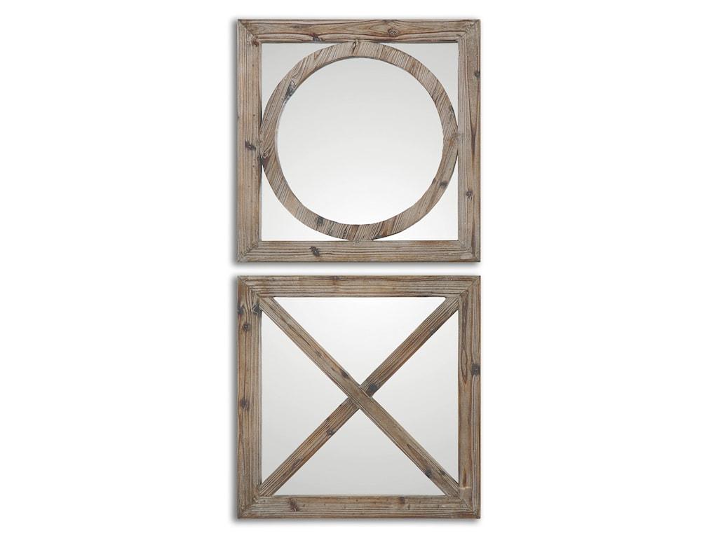 Uttermost MirrorsBaci E abbracci, Wooden Mirrors Set of 2