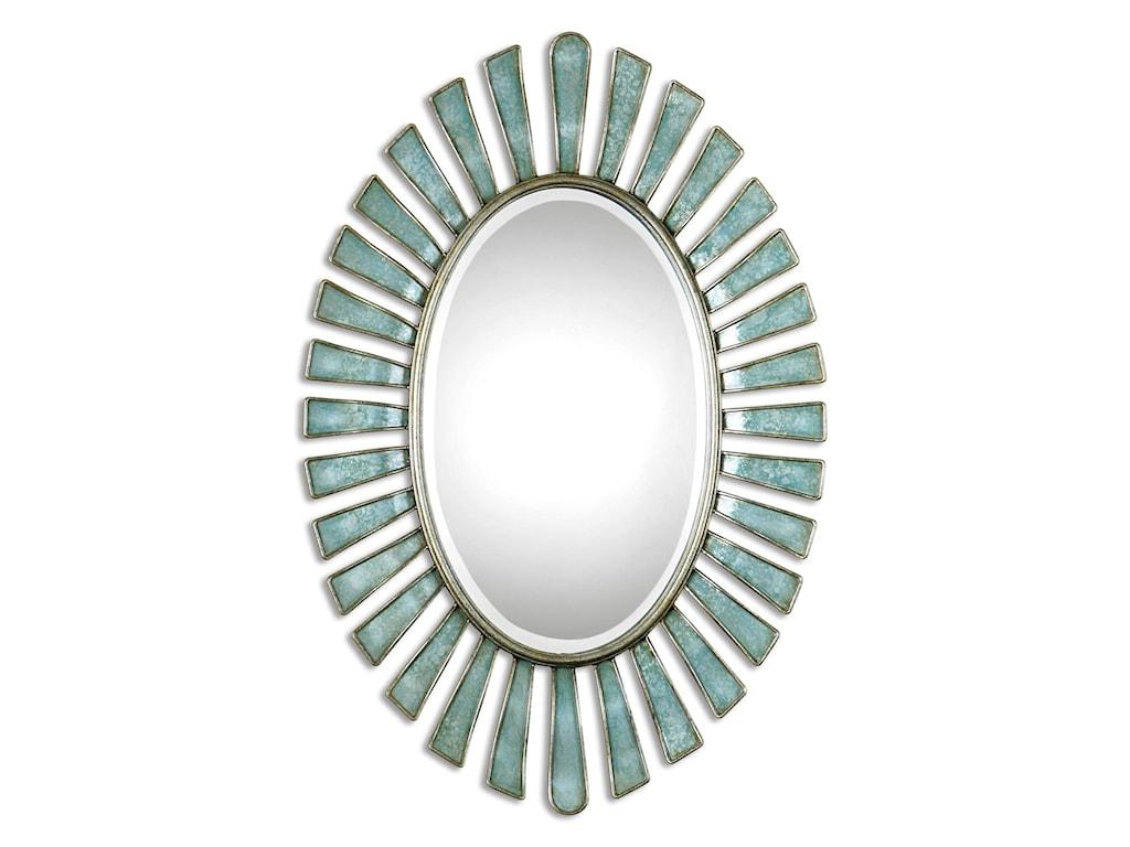Uttermost MirrorsMorvoren Blue-Gray Oval Mirror