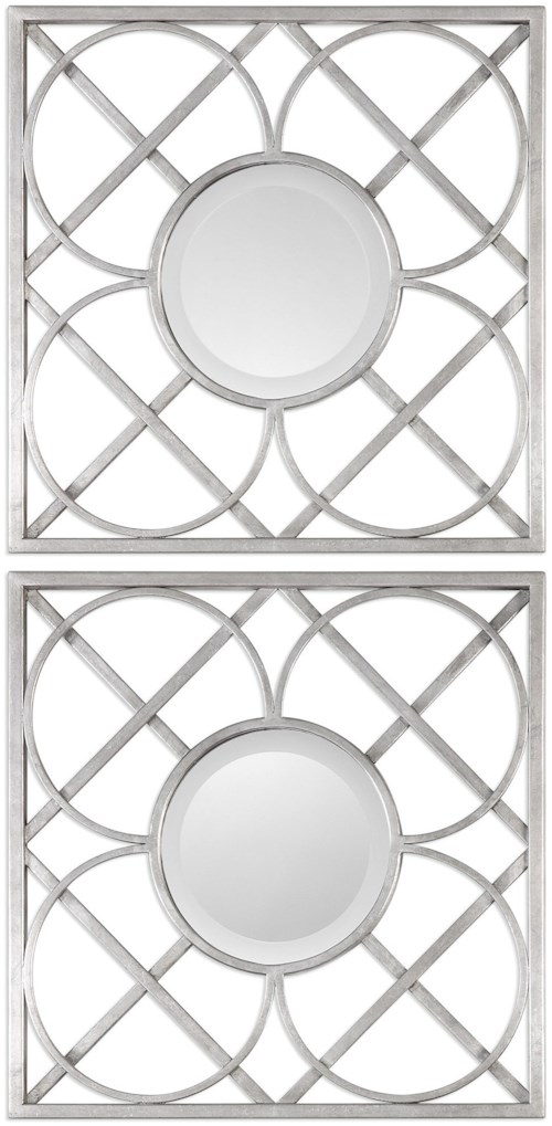 Uttermost Mirrors  Yasmina Silver Square Mirrors (Set of 2)