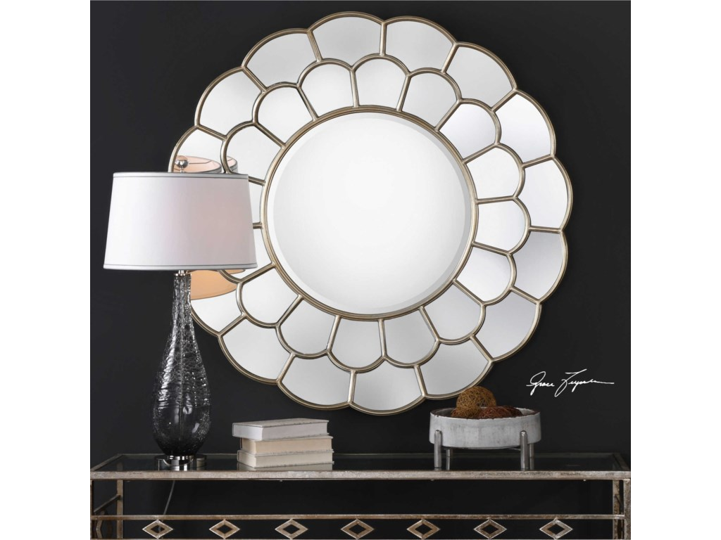 Uttermost Mirrors - RoundDahlia Silver Mirror