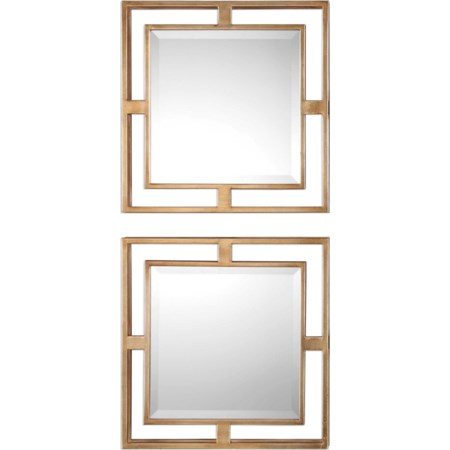 Allick Gold Square Mirrors (Set of 2)