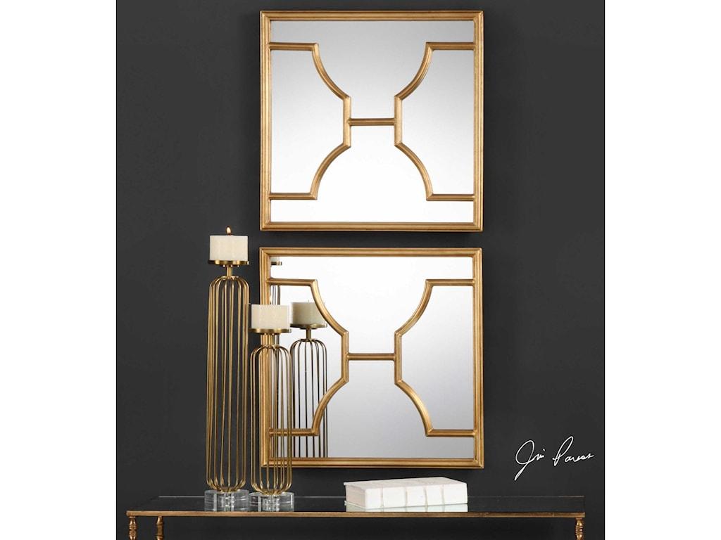 Uttermost MirrorsMisa Gold Square Mirrors Set of 2