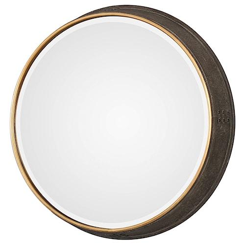 Uttermost Mirrors - Round Sturdivant Antiqued Gold Round Mirror