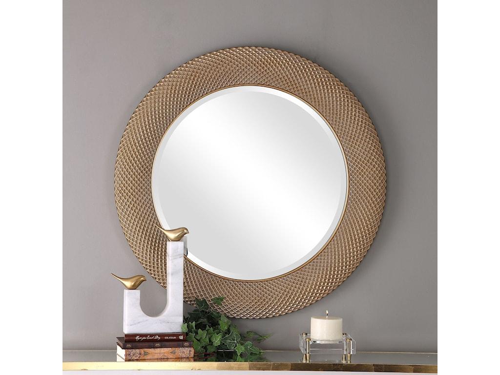 Uttermost Mirrors - RoundAziza Gold Round Mirror