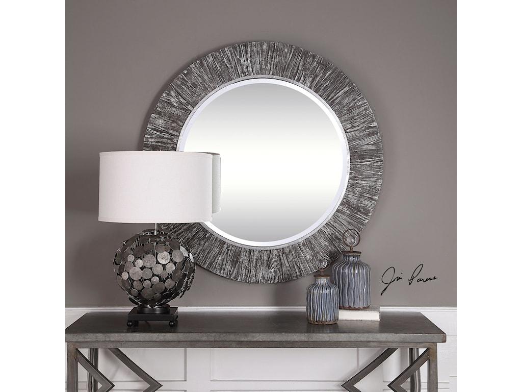 Uttermost Mirrors - RoundWenton Round Aged Wood Mirror