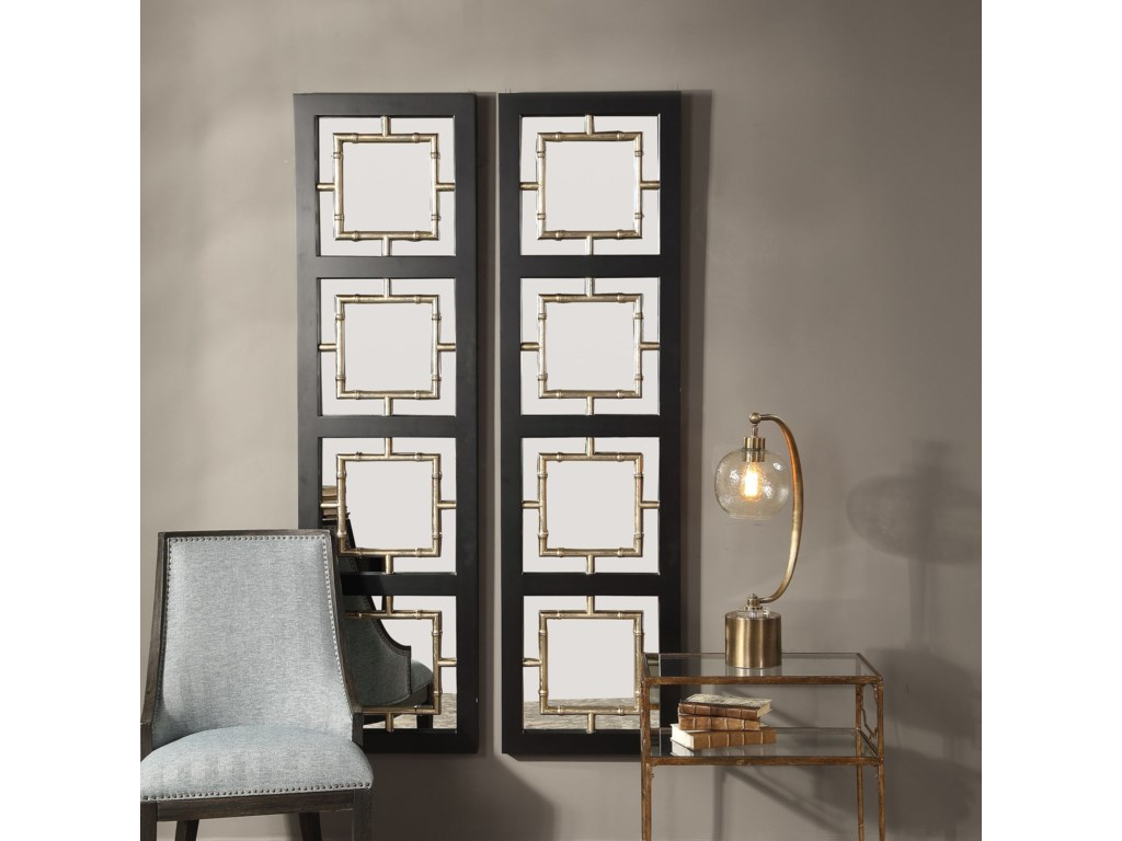 Uttermost MirrorsTadon Black Rectangle Mirror