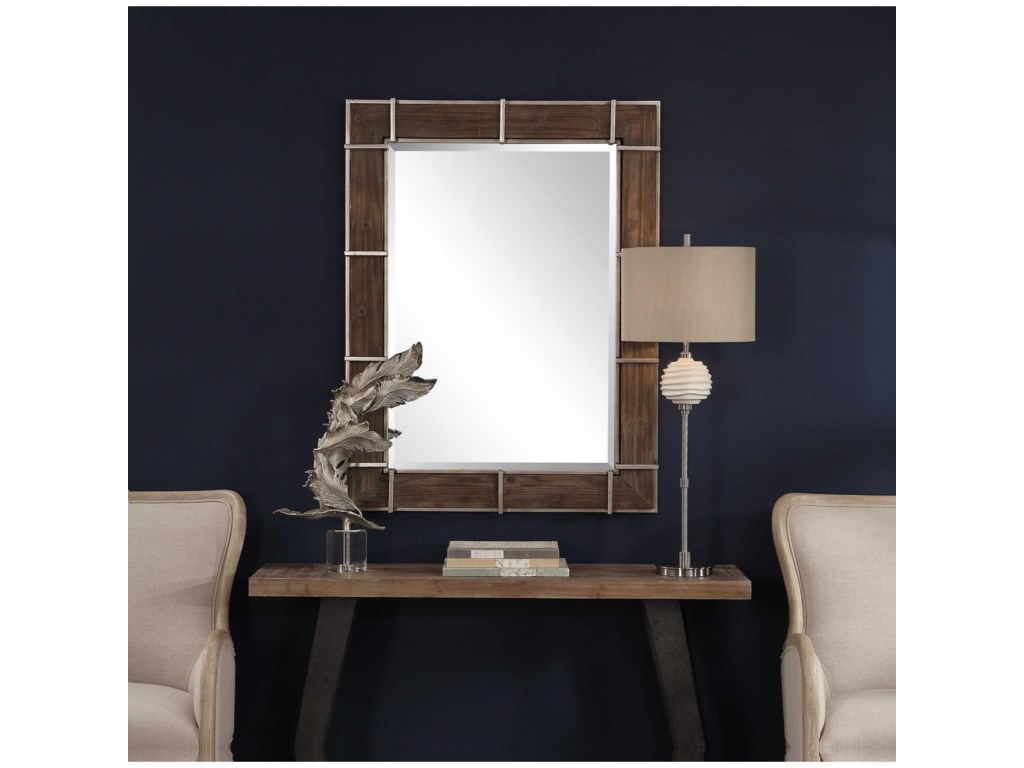 Uttermost MirrorsWade Wooden Industrial Mirror