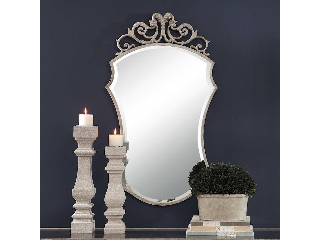 Uttermost MirrorsSadie Distressed Scroll Mirror