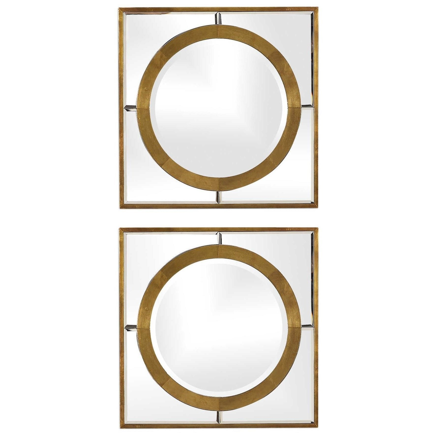 Uttermost Mirrors Gaza Gold Square Mirrors Set Of 2 Wayside Furniture Wall Mirrors