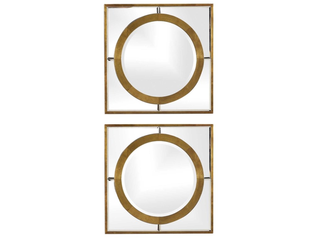 Uttermost MirrorsGaza Gold Square Mirrors (Set of 2)