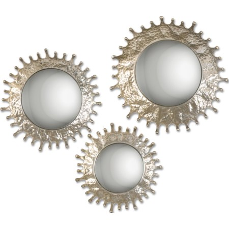 Rain Splash Round Mirrors, S/3