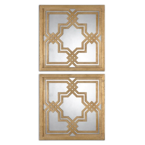Uttermost Mirrors Piazzale Gold Square Mirrors Set of 2