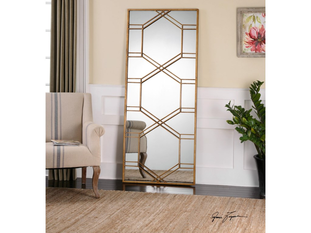 Uttermost MirrorsKennis Gold Leaf Leaner Mirror