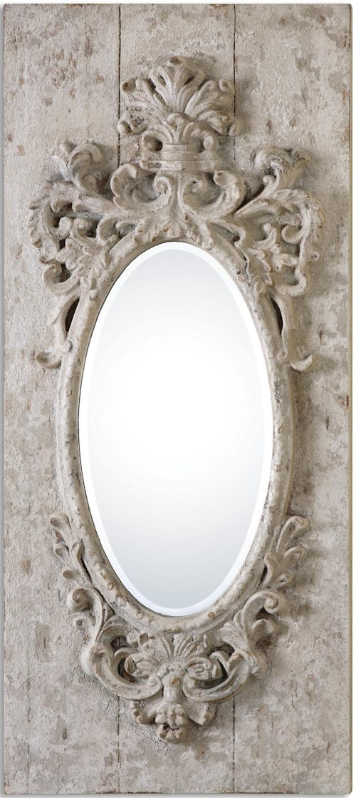 Uttermost Mirrors Guardia Gray-Ivory Oval Mirror
