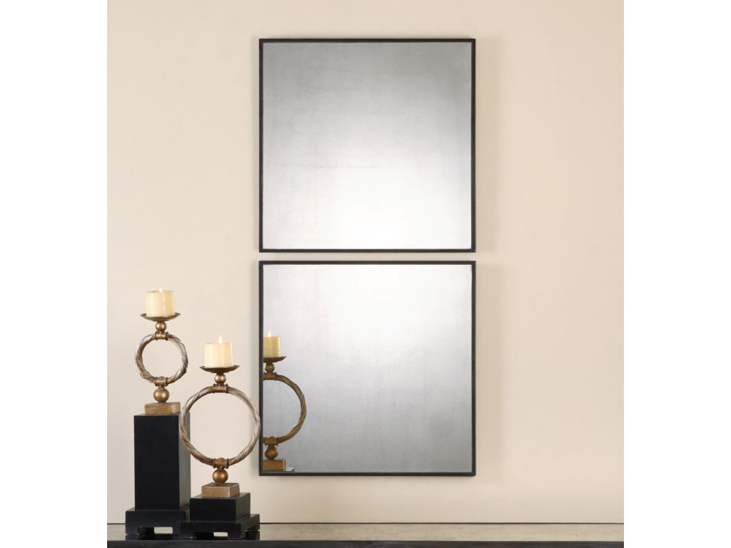Uttermost MirrorsMatty Antiqued Square Mirrors, S/2