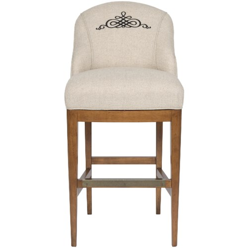 Vanguard Furniture Accent Chairs Upholstered Bar Stool with Curved Back and Monogrammed Medallion Design