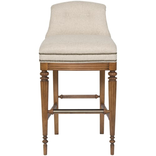 Vanguard Furniture Accent Chairs Armless Upholstered Bar Stool with Button Tufted Back