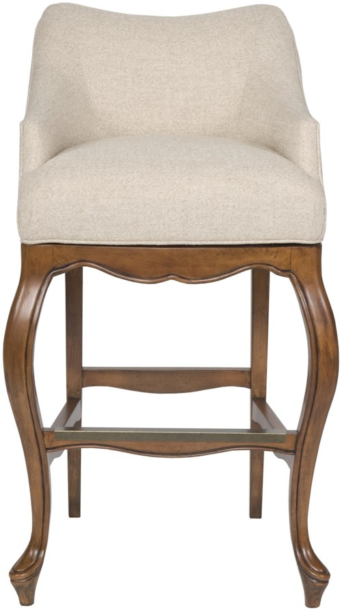 Vanguard Furniture Accent Chairs Upholstered Bar Stool with Short, Curved Back and Wood Base