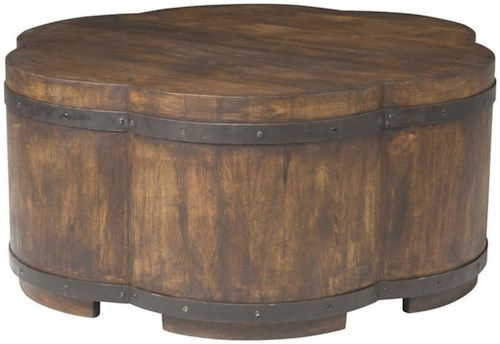 Vanguard Furniture Accent and Entertainment Chests and Tables Solstice Cocktail Ottoman Bound by Iron Hoops