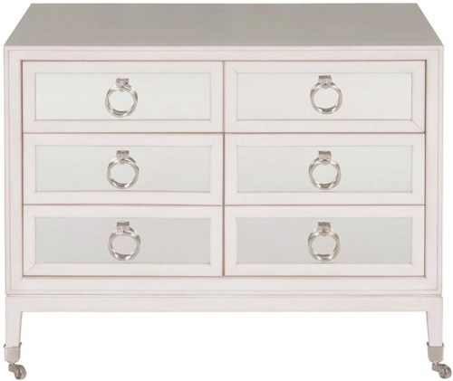 Vanguard Furniture Accent and Entertainment Chests and Tables White Transitional Alister Accent Chest with Casters