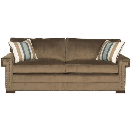 Vanguard Furniture Davidson Transitional Two Cushion Sofa With Greek Key Arms