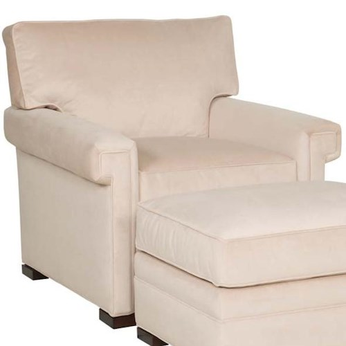 Vanguard Furniture Davidson Transitional Upholstered Chair with Greek Key Arms