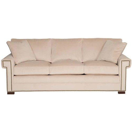 Vanguard Furniture Davidson Transitional Three Cushion Sleeper Sofa with Greek Key Arms