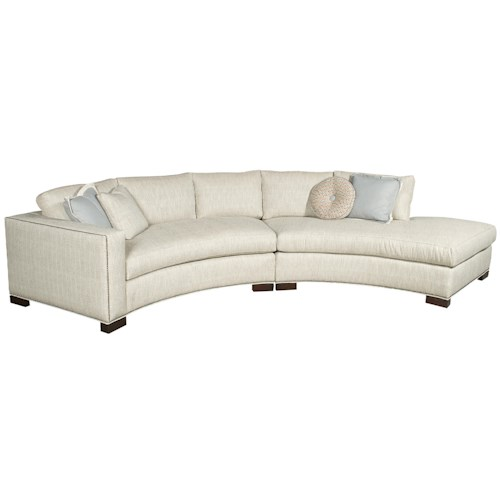Vanguard Furniture Michael Weiss Curved One Arm Bennett Sectional with Chaise
