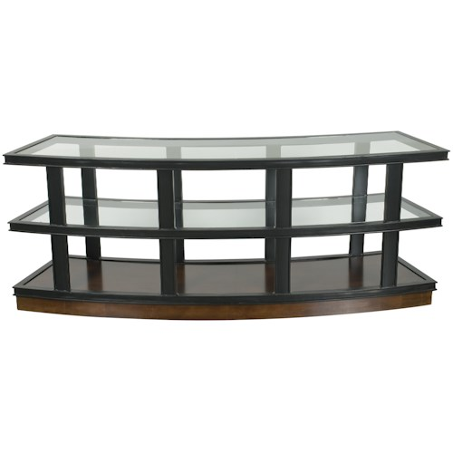 Vanguard Furniture Michael Weiss Fitz Curved Console Table with Glass Top and Shelves