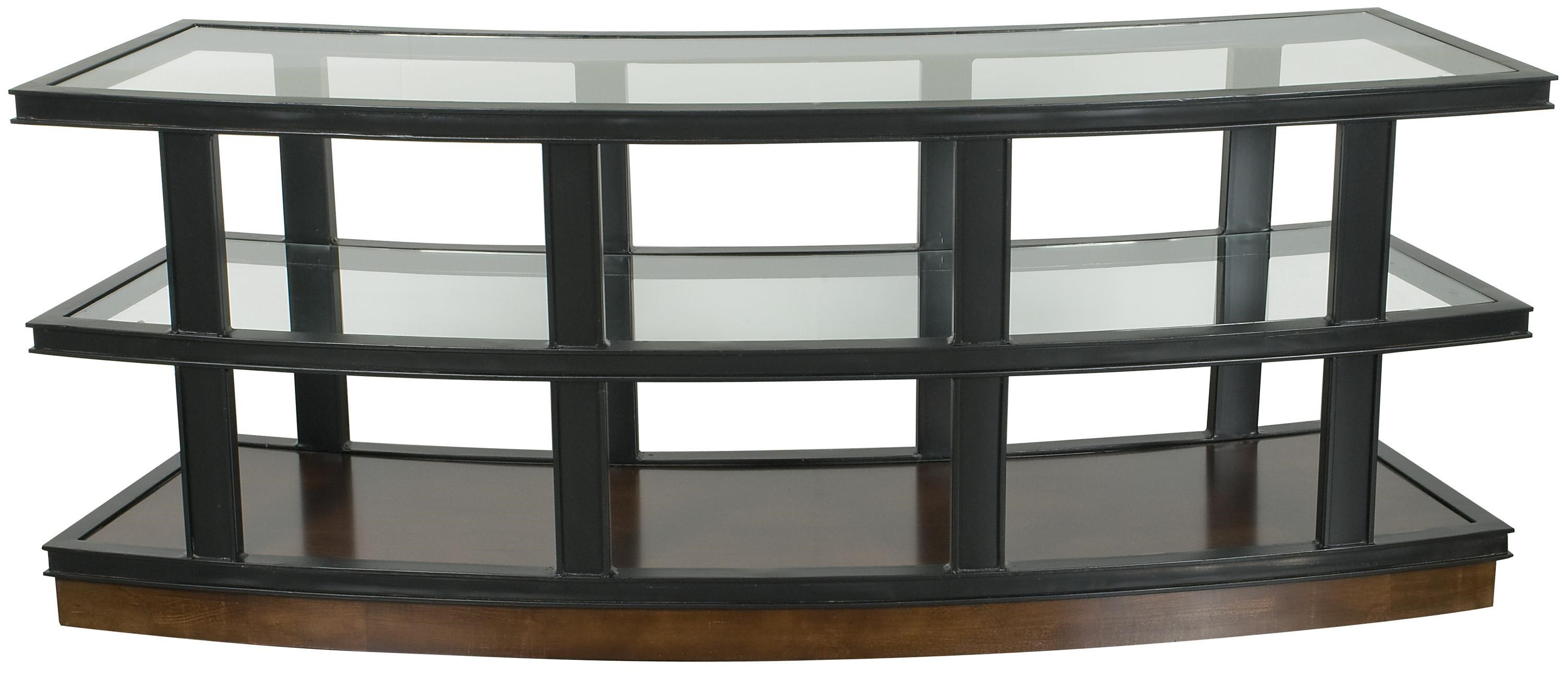 Vanguard Furniture Michael Weiss Fitz Curved Console Table With Glass Top  And Shelves | Belfort Furniture | Sofa Tables/Consoles