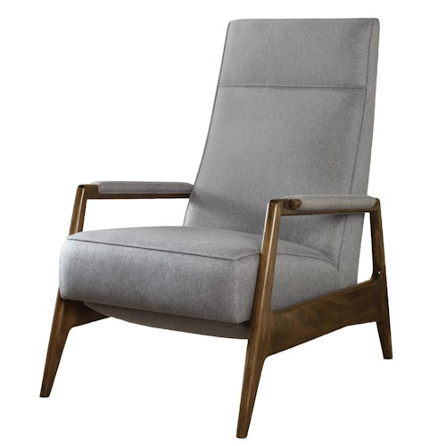 Vanguard Furniture Michael Weiss Contemporary Woodley Recliner with Exposed Wood Arms