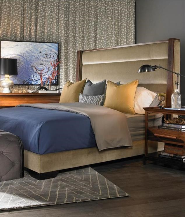 Vanguard Furniture Thom Filicia Home Collection King Century Club  Contemporary Upholstered Platform Bed