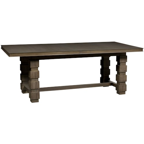 Vanguard Furniture Thom Filicia Home Collection Rectangular Seneca Trestle Dining Table with Leaves