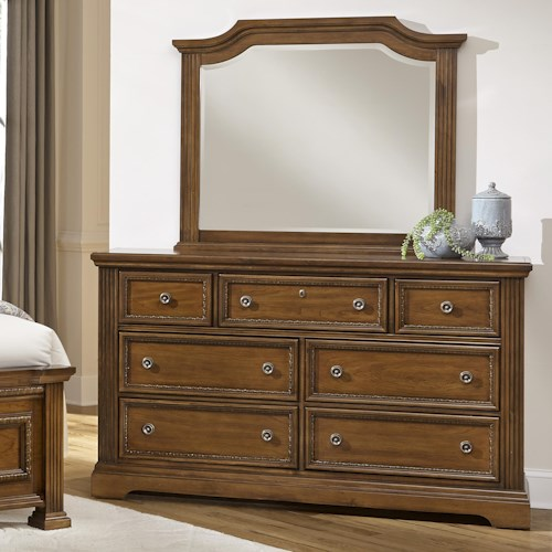 Vaughan Bassett Affinity Traditional Dresser & Arch Mirror