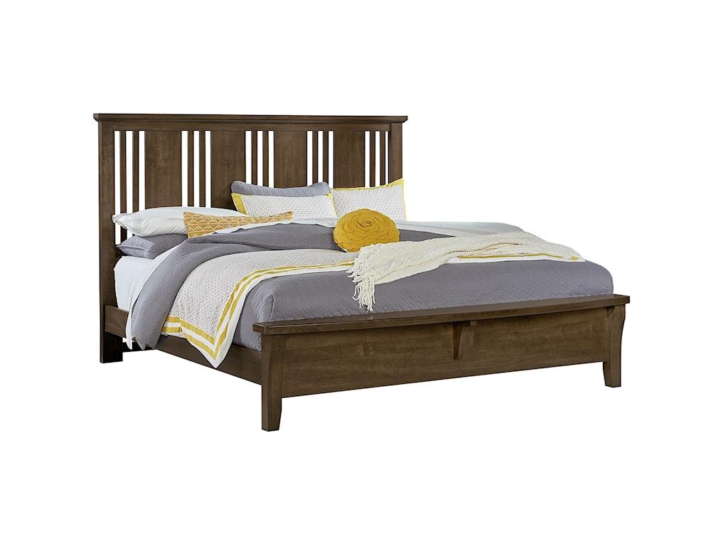 Vaughan Bassett American CherryQueen Craftsman Bed w/ Bench Footboard