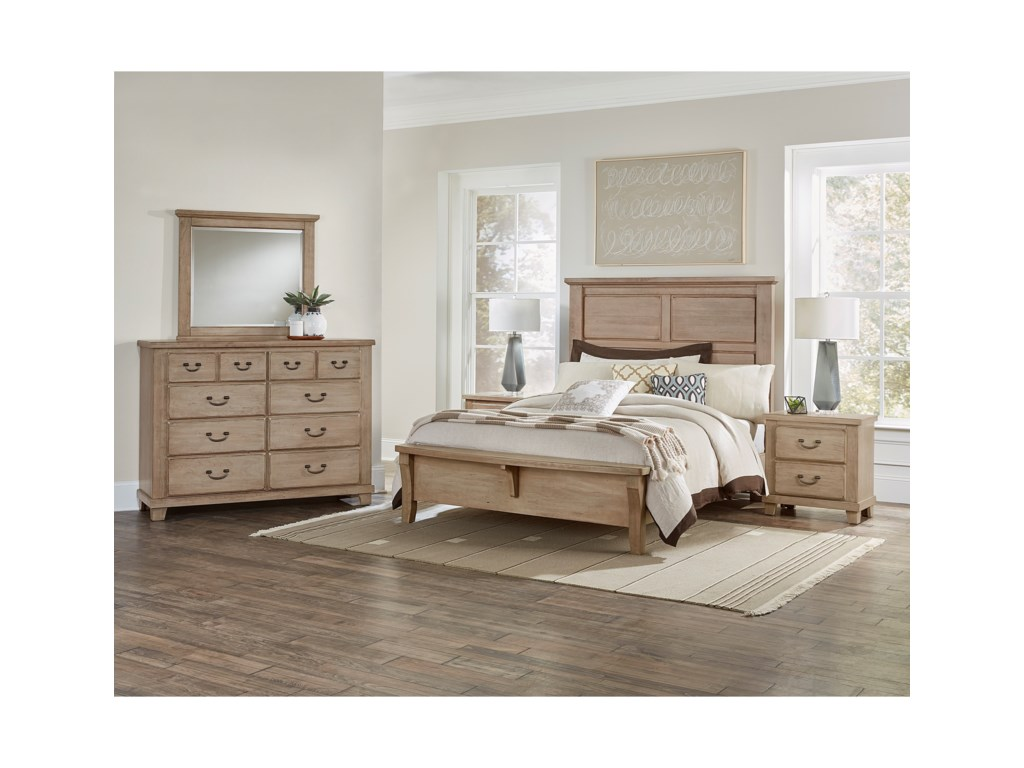 Vaughan Bassett American CherryQueen Mansion Bed with Bench Footboard