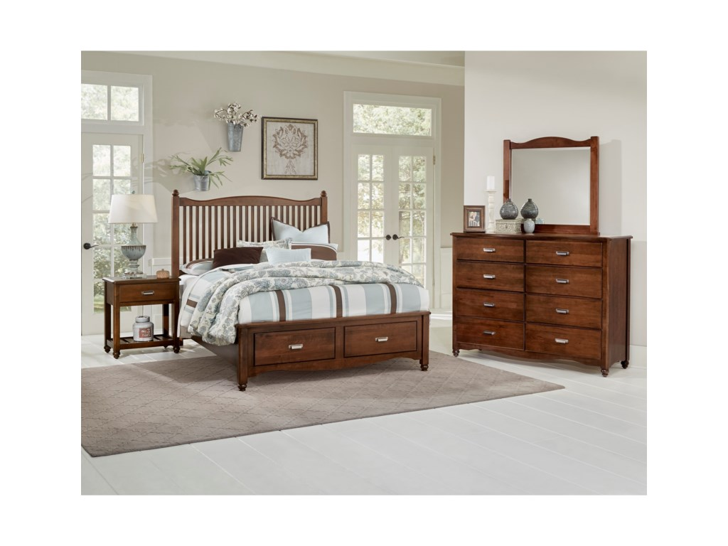 Vaughan Bassett American MapleKing Slat Storage Bed