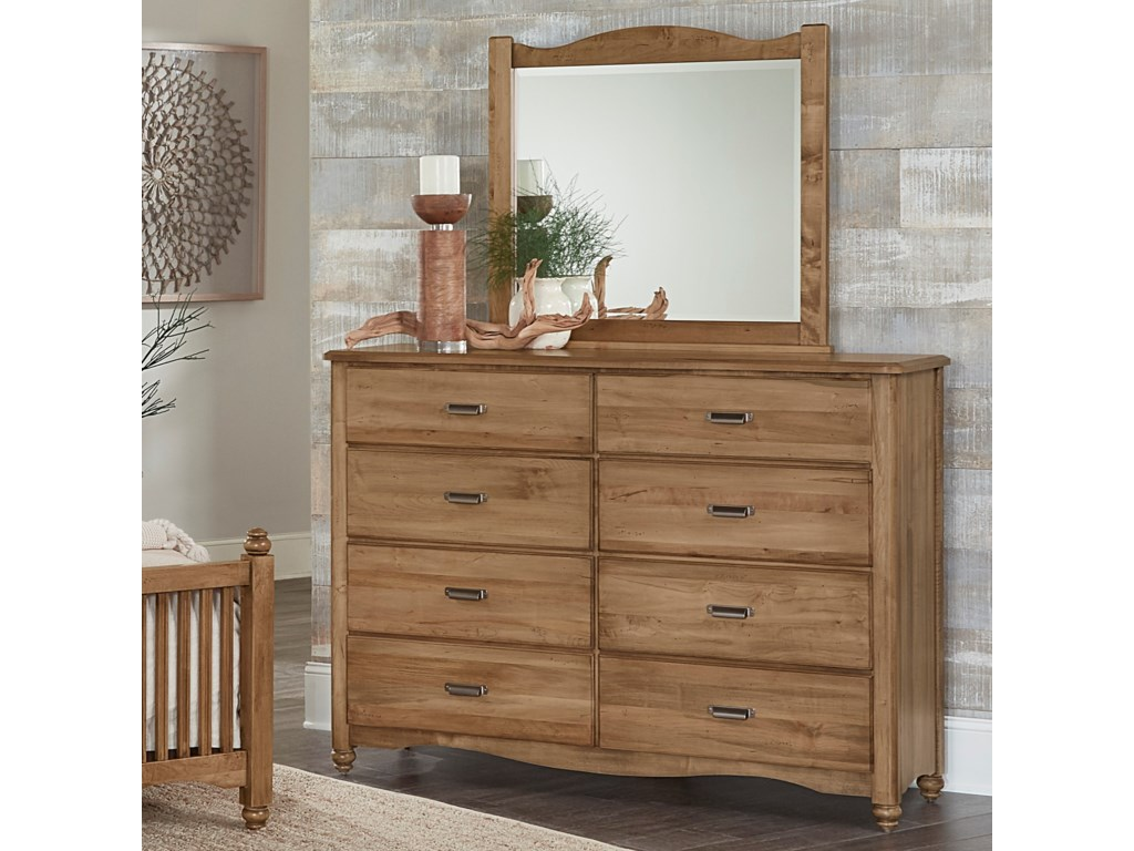 Vaughan Bassett American Maple Solid Wood Bureau Landscape Mirror