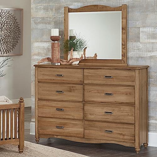 Vaughan Bassett American Maple Solid Wood Bureau & Landscape Mirror